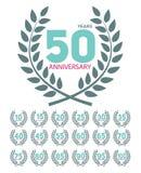 Aniversário do molde em Laurel Wreath Set Vetora Illustration Fotografia de Stock Royalty Free