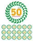 Aniversário do molde em Laurel Wreath Set Vetora Illustration Fotos de Stock