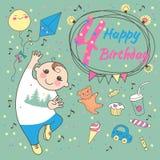 Aniversário do rapaz pequeno 4 anos. Cartão  ilustração stock