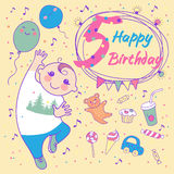 Aniversário do rapaz pequeno 5 anos. Cartão  ilustração stock