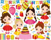 Aniversário do vetor ajustado com meninas bonitos e elementos do partido ilustração do vetor