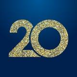 Aniversário 20 efervescente dourado ilustração do vetor