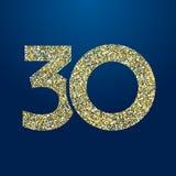 Aniversário 30 efervescente dourado ilustração stock