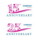 Aniversário em 15 e 25 anos Imagem de Stock Royalty Free