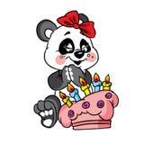 Aniversário feliz da panda com bolo Imagens de Stock