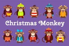 Aniversário feliz do partido de dança do macaco do vetor dos desenhos animados Imagens de Stock Royalty Free