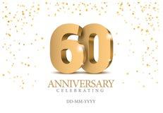 Aniversário 60 números do ouro 3d ilustração royalty free