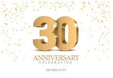 Aniversário 30 números do ouro 3d ilustração royalty free
