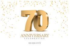 Aniversário 70 números do ouro 3d ilustração do vetor
