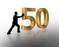 Aniversário que empurra o gráfico 50 3D Fotografia de Stock