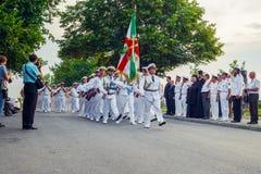Aniversário um 138 anos desde a criação da marinha no truque Fotografia de Stock