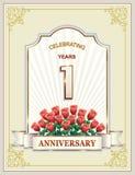 Aniversario 1 año, feliz cumpleaños, tarjetas de felicitación, fondo Ilustración del vector ilustración del vector