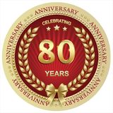 Aniversario 80 años, cumpleaños, fondo, celebración, tarjeta de felicitación Ilustración del vector stock de ilustración