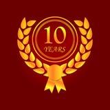 Aniversario, 10 años de icono multicolor Puede ser utilizado para la web, logotipo, app móvil, UI, UX ilustración del vector