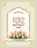 Aniversario 55 años, feliz cumpleaños, tarjeta de felicitación, celebraciones, fondo Ilustración del vector ilustración del vector