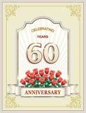 Aniversario 60 años, feliz cumpleaños, tarjeta de felicitación, celebraciones, fondo Ilustración del vector libre illustration