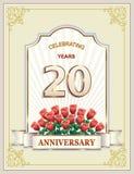Aniversario 20 años, feliz cumpleaños, tarjeta de felicitación, celebraciones, fondo Ilustración del vector stock de ilustración
