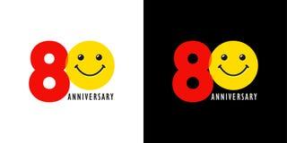 aniversario 80 con la diversión y la sonrisa stock de ilustración
