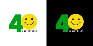 aniversario 40 con la diversión y la sonrisa Foto de archivo