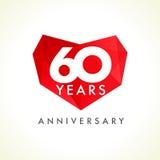 Aniversario corazones de 60 años Imagenes de archivo