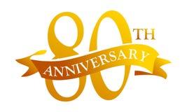 Aniversario de la cinta de 80 años ilustración del vector