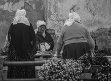 Aniversario de la ciudad de Samobor con las se?oras mayores que venden la comida tradicional imagen de archivo libre de regalías