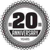 Aniversario del vintage 20 años de emblema redondo Vector diseñado retro b ilustración del vector