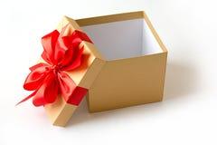 aniversario feliz Chri de la tarjeta de felicitación del día de fiesta de la Navidad de la caja de regalo Foto de archivo libre de regalías