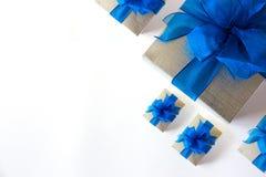 aniversario feliz Chri de la tarjeta de felicitación del día de fiesta de la Navidad de la caja de regalo Fotografía de archivo libre de regalías