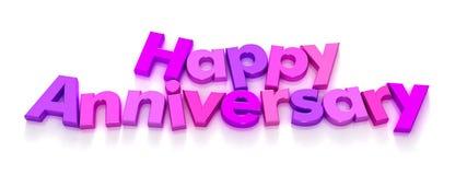 Aniversario feliz en imán púrpura y rosado de la carta Fotos de archivo