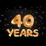 40 aniversario Logo Celebration con el globo de oro Imagen de archivo libre de regalías