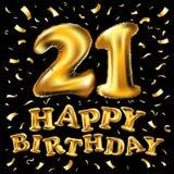 21 aniversario Logo Celebration con el globo de oro y el confeti, aislados en fondo oscuro Fotografía de archivo libre de regalías
