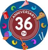 Aniversario 36.o Arte del ejemplo Fotografía de archivo libre de regalías