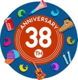 Aniversario 38.o Arte del ejemplo Imagenes de archivo