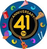 Aniversario 41o Arte del ejemplo Fotos de archivo