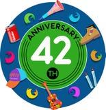 Aniversario 42o Arte del ejemplo Foto de archivo