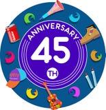 Aniversario 45.o Arte del ejemplo Foto de archivo libre de regalías