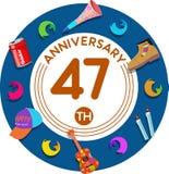 Aniversario 47.o Arte del ejemplo Imágenes de archivo libres de regalías