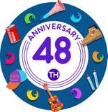 Aniversario 48.o Arte del ejemplo Foto de archivo