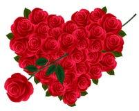Aniversario o corazón de la tarjeta del día de San Valentín hecho fuera de rosas Fotos de archivo libres de regalías