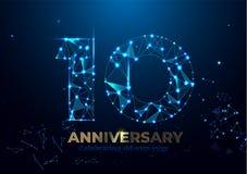 Aniversario 10 Plantilla poligonal geométrica del cartel para celebrar el partido del acontecimiento del aniversario Fondo de los ilustración del vector