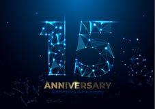Aniversario 15 Plantilla poligonal geométrica del cartel para celebrar el partido del acontecimiento del aniversario Fondo de los stock de ilustración