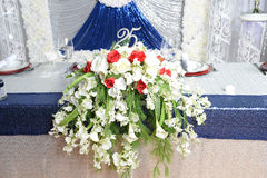 Aniversary Celebration Decorations. Flower arrangements for twenty fifth year celebration Stock Images