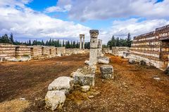 Anjar Citadel Historical Landmark 16. Anjar Awesome Appealing Citadel Historical Landmark Pillars Ruins with Main Passage stock images