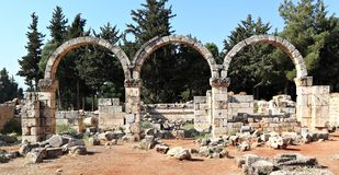 Anjar, Lebanon. The archeological ruins of the ancient Umayyad dynasty city in the Beqaa Valley, Lebanon stock images