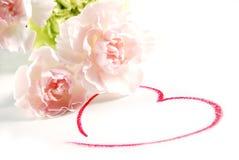 Anjerbloemen en hart stock fotografie