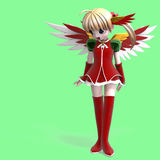 Anjo bonito do manga na roupa festiva. Com Clippin Fotos de Stock Royalty Free