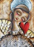 Anjo com coração vermelho Imagem de Stock Royalty Free