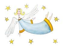 Anjo com estrelas, childs que tiram, pintura da aguarela Imagem de Stock