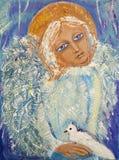 Anjo com pássaro Pintura acrílica original na lona ilustração do vetor